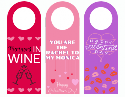 Valentine's Day Printable Wine Tag Design, Valentine's Day Wine Tags