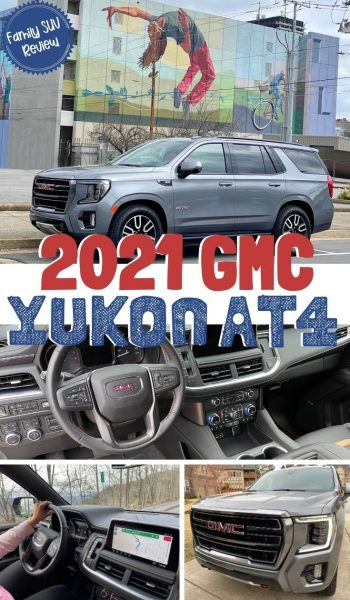 Review of the all-new 2021 GMC Yukon AT4 family SUV. See why it's not just for off-roading! #SUVReview #YukonAT4 #GMC #CarReview