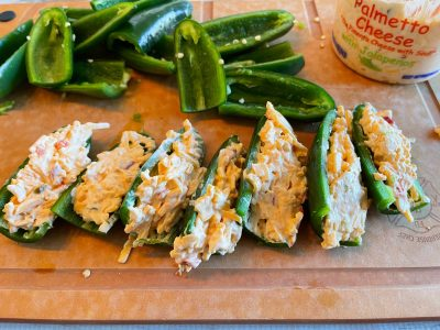 Stuffing jalapeño with pimento cheese
