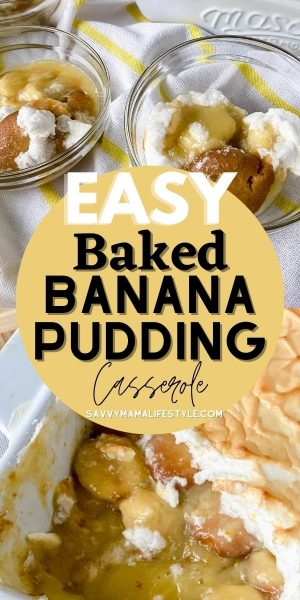 This Baked Banana Pudding Casserole is a southern pot luck favorite. It's layers of cookie, pudding and fresh bananas with a meringue topping. #BananaPudding #DessertCasserole #Casserole #LargeBatchDessert #PotLuckRecipe
