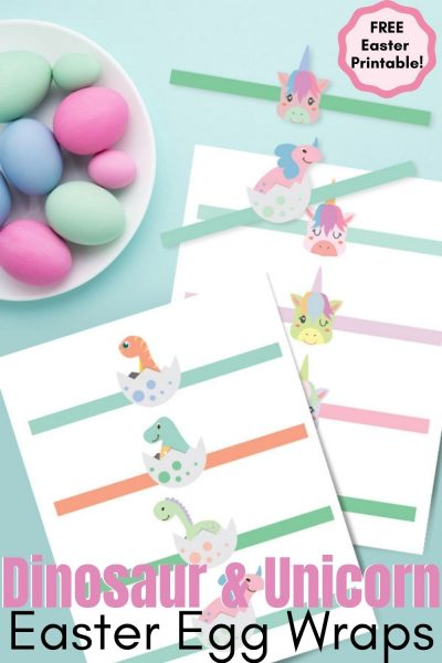 Print these FREE unicorn and dinosaur printable Easter egg wraps to decorate your dyed eggs. #Easter #EasterPrintable #EasterEggDying #DyingEggs