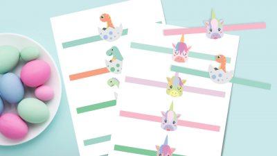 Printable Easter egg wraps: dinosaur and unicorn design
