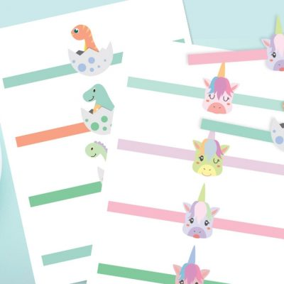 Printable Easter Egg Paper Wraps: Dinosaur & Unicorn Designs