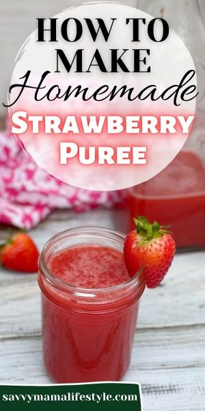The easiest way to make a homemade strawberry puree from fresh (or frozen) strawberries! Use it for cocktails or any summer drink. #StrawberryPuree #StrawberryRecipe #Cocktail #RedCocktail #PinkCocktail #DrinkRecipe