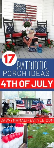 Budget-friendly and FUN patriotic front porch decorating ideas for 4th of July and Memorial Day! #IndependenceDay #4thofjuly #memorialday
