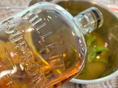 Adding bourbon to mint infused simple syrup