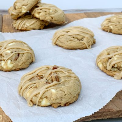 Soft Maple White Chocolate Chip Cookies (With Pecans & Glaze)