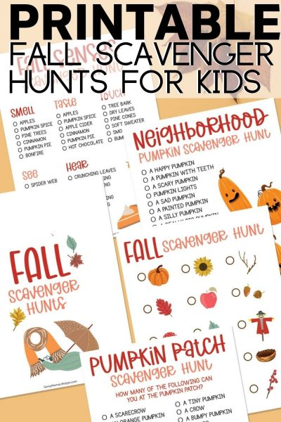 Print your FREE fall scavenger hunts for kids - with 4 different versions - perfect for ALL ages!