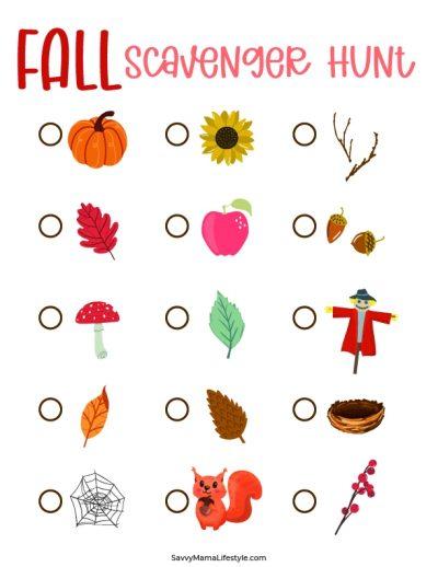 Preschool Fall Scavenger Hunt Printable